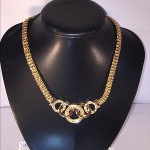 Jewelry - Gold-Tone Cable Necklace with Crystal Stones